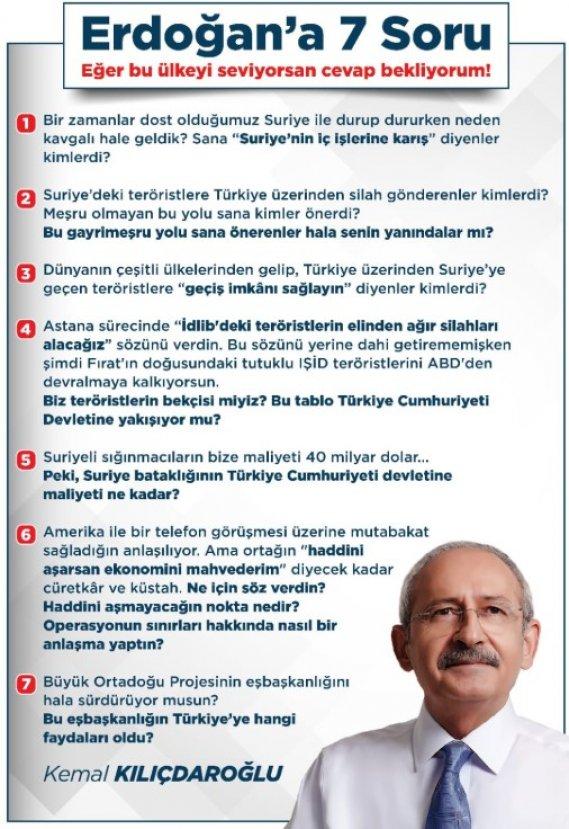 Cumhurbaşkanı Erdoğan'a Kılıçdaroğlu'ndan 7 soru