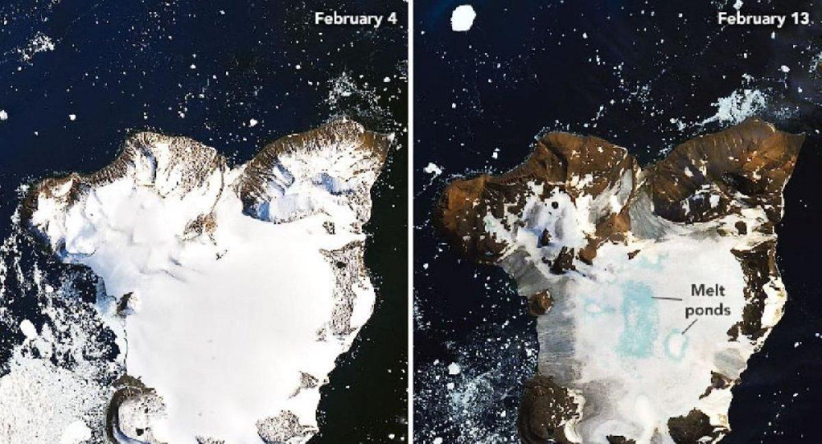 Antarktika'daki buzul erimelerine ilişkin fotoğraflar