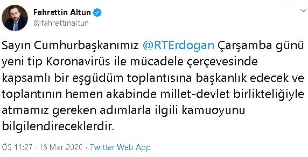 Cumhurbaşkanı Erdoğan, korona bilgilendirmesi yapacak