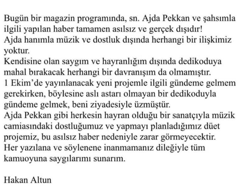 Hakan Altundan Ajda Pekkan açıklaması